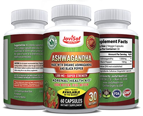 Organic India Ashwagandha Root Capsules with Black Pepper Extract 1300 mg | Super Strength Herbal Supplement, Natural Anxiety Relief + Stress Support + Mood Enhancer - Soft Vegan Pills | 60 Count