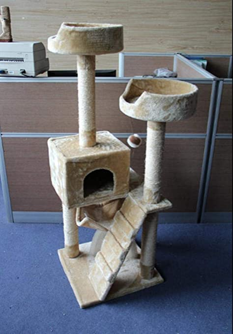 Dixinla Árbol Gatos Gato árbol 50 * 50 * 139 cm Felpa Beige