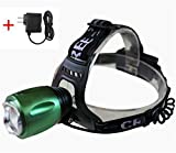 CREE Headlamp LED Flashlight, Battery Powered Helmet Light, Hands free Camping Headlight, 3 Modes LED Headlamps,With AC Charger, Green