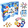 Arts and Crafts for Kids Large Ink Pad Stamps kit with Wooden Stamp Set, Drawing Pad, Ink Refills, and Marker