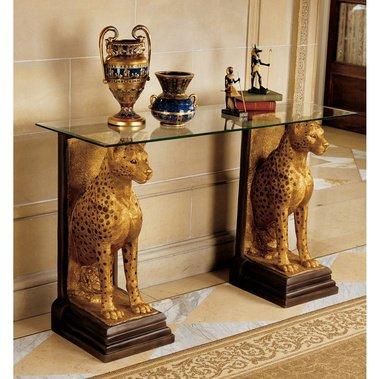 Pharaohs Guardians Egyptian Glass Top Cheetah Statue Table Egypt Sculpture (The Digital Angel) ()