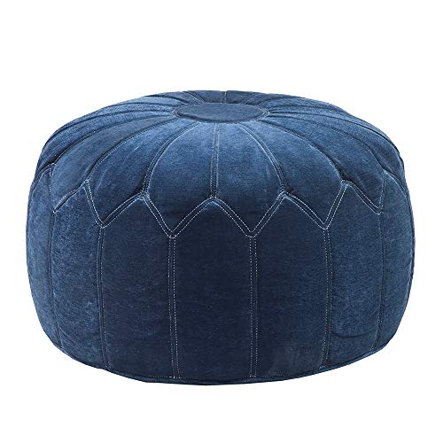 Madison Park Kelsey Round Floor Pillow Pouf Large-Soft Fabric, Polystyrene Beads Fill Ottoman Foot Stool-1 Piece Mid-Century Modern Floral Design Oversized Beanbag, Blue (Pattern Ottoman For Knitted Pouf)