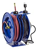 Coxreels C-L350-5016-A Dual Purpose Electric/Air Spring Rewind Reels: 50' 3/8'' I.D. hose, 300 PSI, & Single Industrial Receptacle, 50' cord, 16 AWG