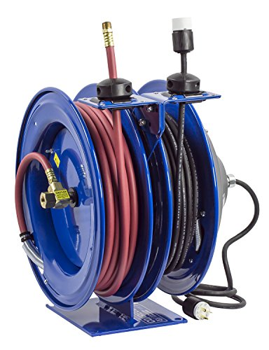Coxreels C-L350-5016-A Dual Purpose Electric/Air Spring Rewind Reels: 50' 3/8'' I.D. hose, 300 PSI, & Single Industrial Receptacle, 50' cord, 16 AWG by Coxreels