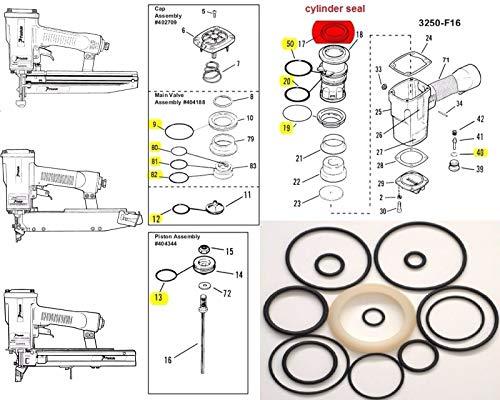O ring + Cylinder Seal Part # 402725 Kit for Paslode 3250 F16 Finish - O-ring Nailer