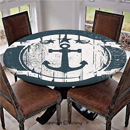 Elastic Edged Polyester Fitted Table Cover,Vintage Navy Grunge Shield with Anchor Murky Dark Stained Colors Artsy Graphic Print,Fits up 40