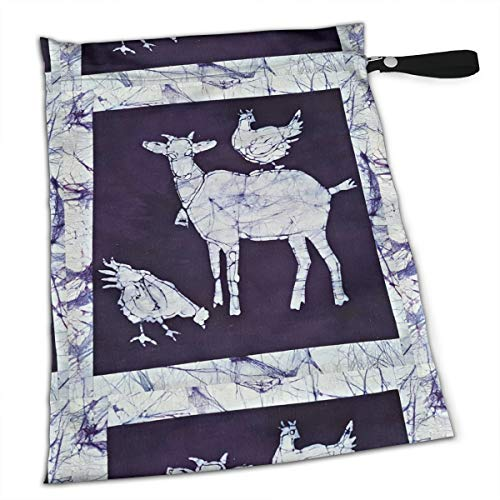 Batik Goat Tote Travel Accessories Size Happens Reusable Laundry Beach Toddler Dry Bag for Workout Swim Wet Kid Baby Gym Clothes Cloth Diaper Wetbag