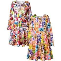 Jxstar Little Girl's Animal Print for Skater Travel Beach Pattern Long Sleeve Dress (Cat and Candy)2-pack 110