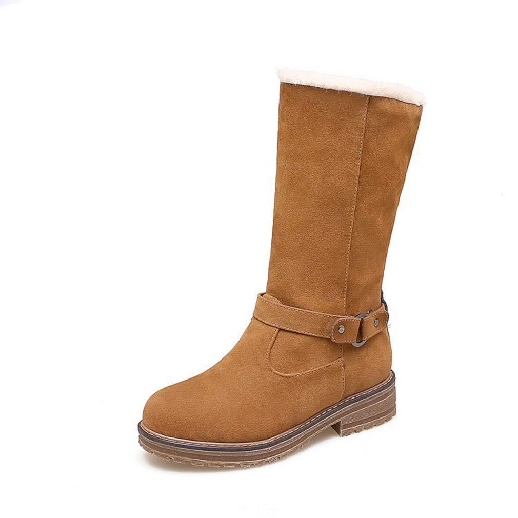 Hy Damen Stiefel Winter Wildleder Schneeschuhe/Wohnung große Größe Stiefelies/Damen Plus Cashmere warme Winterstiefel (Farbe : Gelb, Größe : 39)