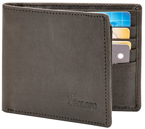 RFID Blocking Genuine Leather Bifold Wallet for Men with Zipper and 2 ID Windows (Black) -