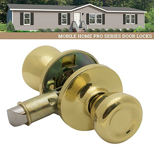 Pro-Grade Classic Mobile Home Passage Door Knob Hall Closet Handle, Polished Brass (Cheap Interior Doors)