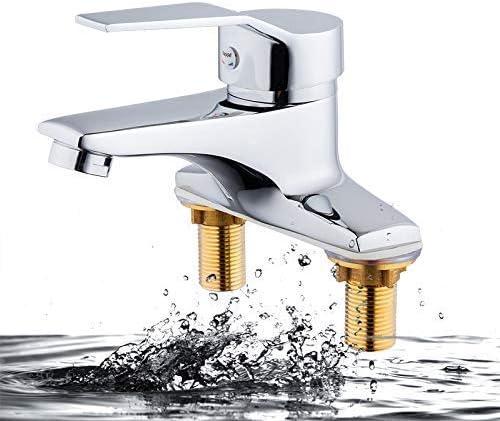 CHENBIN-BB 水タップキッチン蛇口シンク銅ダブルホールインストール洗面蛇口温水と冷水の蛇口のシンクの蛇口のミキサーシングルハンドル水シンクミキサータップ