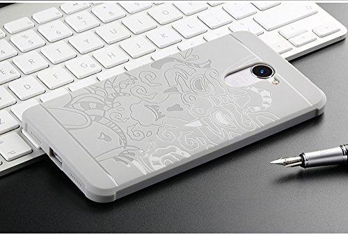 Huawei Y7 Funda, SMTR Cubierta Delgado material de silicona Funda Protective Case Cover [Diseño durable] [Máxima protección contra golpes] +1 film Protector de pantalla para Huawei Y7 - Negro Gris Dragon