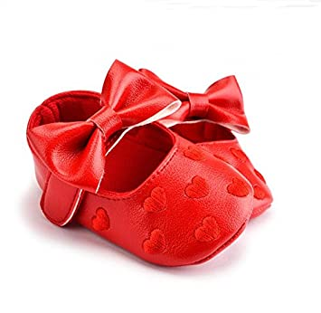 6efb0d61aba6 Amazon.com   CITIQ Cute Fashion Red Baby Girls PU Leather Heart Embroidered  with Bow Soft Sole Moccasins Pre-Walker Shoes 12-18 Months   Baby