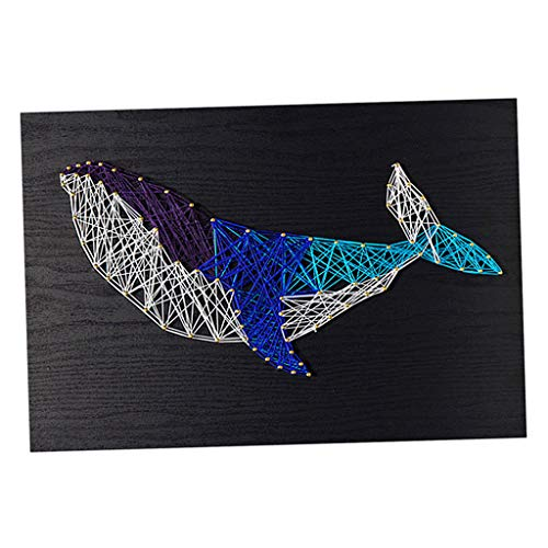 Prettyia 12x16 Inch String Art Whale Kits Home Decoration DIY Thread Winding Drawing for DIY Kids Beginners Crafts