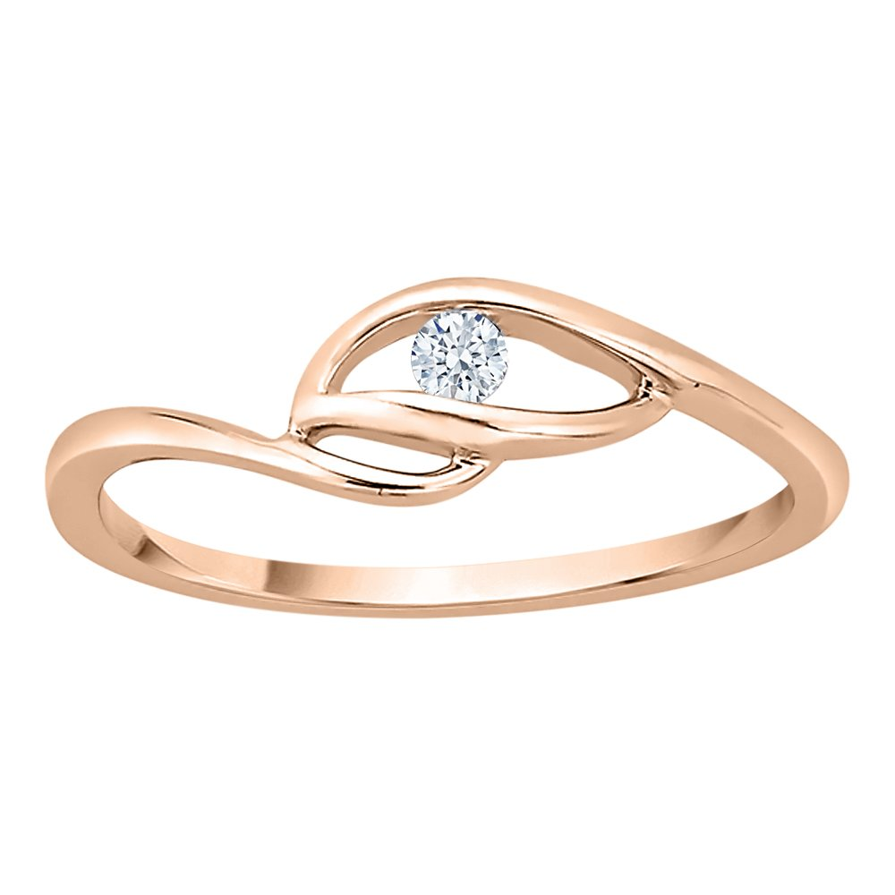 Diamond Solitaire Promise Ring in 10K Rose Gold (1/20 cttw) (GH Color, I2-I3 Clarity) (Size-5.75)
