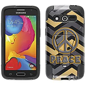Samsung Galaxy Avant Hybrid Case Peace on Chevron Grey Gold Black 2 Piece Style Silicone Case Cover with Stand for Samsung Galaxy Avant