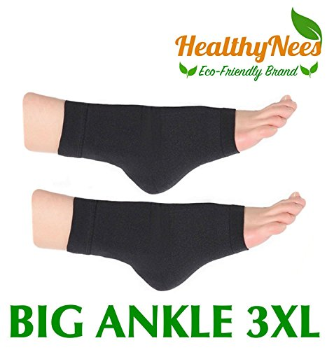 Wide Ankle - HealthyNees Extra Wide Ankle Big Feet 20-30 mmHg Compression Swelling Foot Pain Circulation Plus Size Sock Open Toe Sleeve (Black, Big Ankle 3XL)