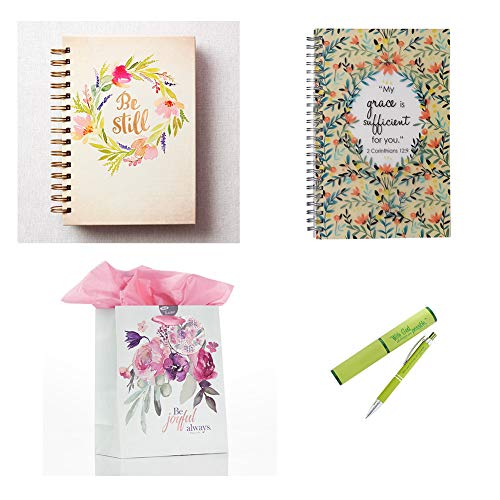 Floral inspirational wirebound journals with pen and gift bag