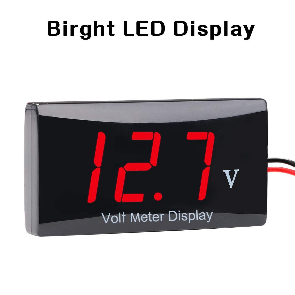 Zealforth DC 12V Digital Voltmeter blue LED Display Voltage Volt Meter Gauge for Car Motorcycle