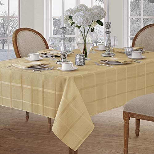 (Newbridge Elegance Plaid Christmas Fabric Tablecloth, 100% Polyester, No Iron, Soil Resistant Holiday Tablecloth,60 Inch x 144 Inch Oblong/Rectangle, Ribbon Gold )