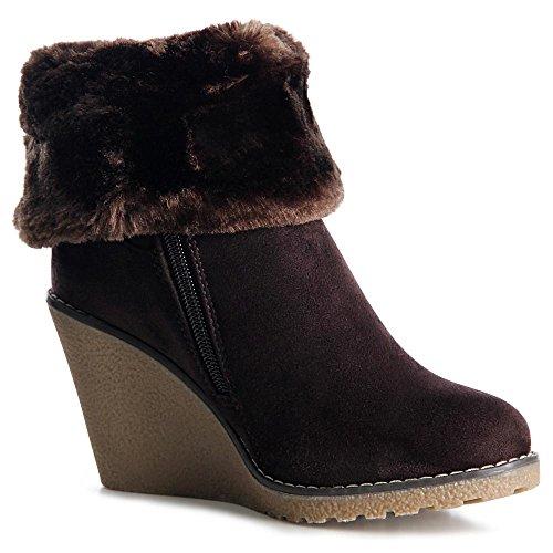 topschuhe24 1016 Damen Keilabsatz Stiefeletten Boots Booties Braun