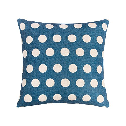 Ofat Home White Polka Dots and Blue Background Cushion Covers Decorative Square Throw Pillow Cases 18x18 Cotton Linen inch for Home Sofa ()