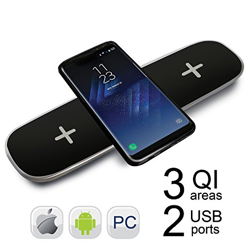 QI Wireless Charging Triple Pad YKing for IPhone 8-8 Plus- X- for Samsung Galaxy Note 8 S8 S8plus S7 S7 Edge 5 S6 Edge Plus- QI Wireless Charger - QI Wireless Charging Station (Black)