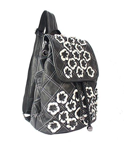 Estilo De La Señora Coreana Colores Mezclados Blancos Y Negros Bolsa De Flores Hombro Mochila Color