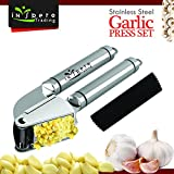 Stainless Steel Garlic Press and Peeler Set – Heavy Duty Garlic Masher, Crusher, Mincer, Presser & Silicone Peeler – Easy to Use Dishwasher Safe – Peel & Mince Fresh Garlic In Seconds - by Inspero
