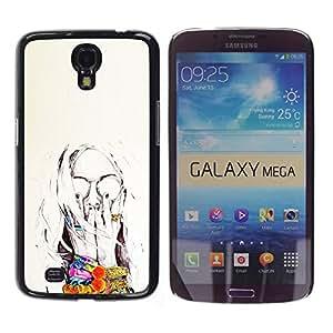 For Samsung Galaxy Mega 6.3 / I9200 / SGH-i527 Case , Sun Summer Flowers Painting Sunglasses - Diseño Patrón Teléfono Caso Cubierta Case Bumper Duro Protección Case Cover Funda