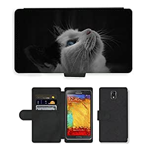 PU LEATHER case coque housse smartphone Flip bag Cover protection // M00113180 Gatito Gato Negro Blanco Animal Pet // Samsung Galaxy Note 3 III N9000 N9002 N9005