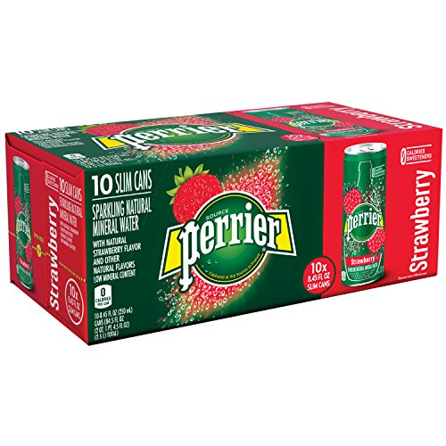 Perrier Strawberry Flavored Carbonated Mineral Water, 8.45 fl oz. Slim Cans (10 Count)