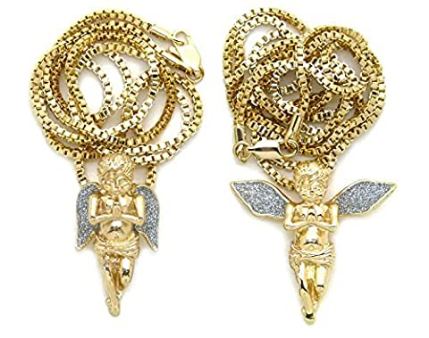 Sparkled Iced Out Micro Double Angel Pendant 24