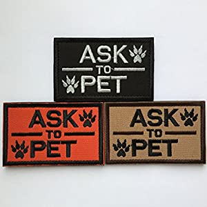 "SpaceAuto Service Dog and Ask to Pet Harness Tactical Morale Hook & Loop Embroidery Badge Patch 3.15"" x 1.97"" Sized"