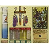 7 In One Holy Water, Soil, Oil, Cross, Incense, Candle & Icon Big Jerusalem Set from the Holy Land