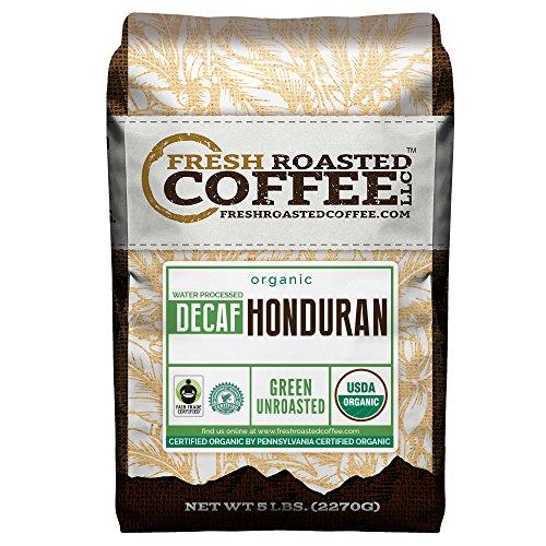 Green Unroasted Coffee Beans, 5 LB. Bag, Fresh Roasted Coffee LLC. (Organic Honduran Water Decaf Fair Trade)