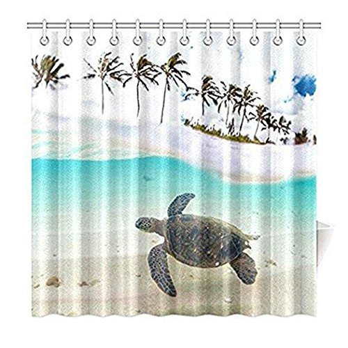 Tropical Sand Beach Palm Tree for Home, Underwater Sea Turtle Fabric Shower Curtain Bathroom Sets with Hooks 72 X 72 Inches,With Hooks Set