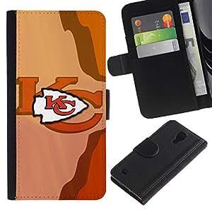 KC Equipo deportivo - la tarjeta de Crédito Slots PU Funda de cuero Monedero caso cubierta de piel Para Samsung Galaxy S4 IV I9500