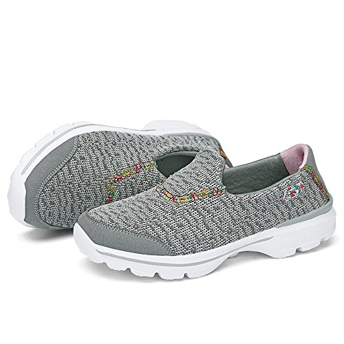 Scarpe Da Ginnastica Quotidiane Enllerviid Slip On Light Weight Running Fitness Gym Sports Sneakers Light Grey-color Stitches