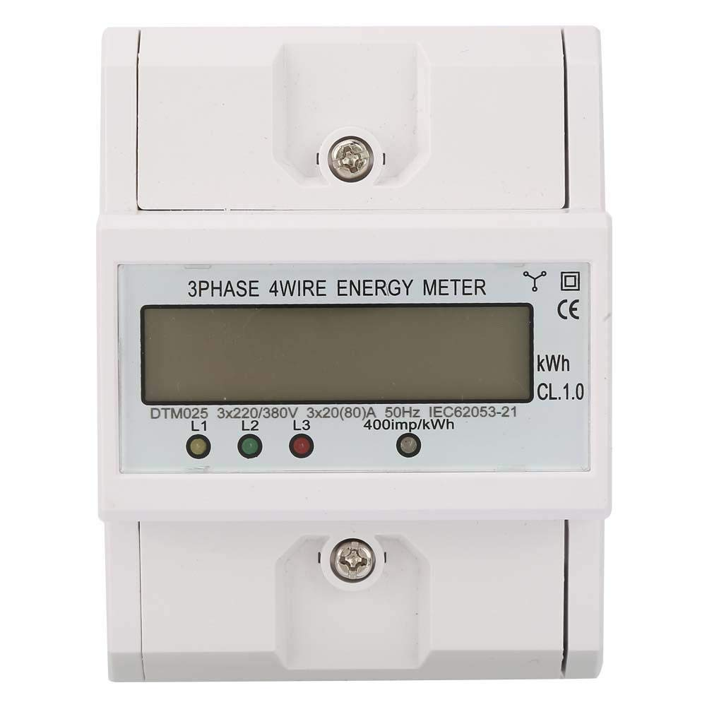 Electric Power Meter 220/380V 20-80A Energy Consumption Digital 3 Phase 4P KWh Meter with LCD Consumption- Electricity Protection