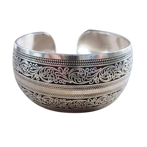Baishitop Tibetan Tibet Totem Bangle Bracelet Retro Cuff Wide Bracelet Bangle Jewelry