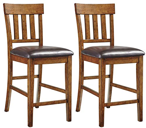Ashley Furniture Signature Design - Ralene Upholstered Barstool - Rake Back - Set of 2 - Medium Brown