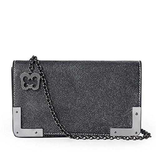 Eric Javits Luxury Fashion Designer Women's Handbag - Cassidy - Gun Glitter by Eric Javits