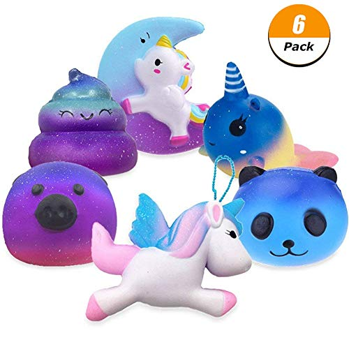 FIDGET DICE Jumbo Cute Moon Unicorn, Fly Unicorn, Galaxy Panda, Galaxy Pig, Dolphin, Poo Emoji Set Kawaii Cream Scented Squishies Slow Rising Decompression Squeeze Toys for Kids or Stress Relief Toy