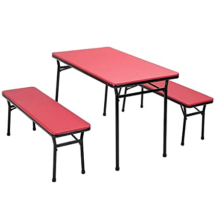 NAKSHOP Dining Table Bench Seat Set Outdoor Indoor Rectangle Utility Furniture Patio Decor Coffee Kitchen Camping