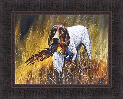 - German Shorthair by Jim Hansel 17x21 Shorthaired Pointer Hunting Dog Field Pheasant Framed Art Print Picture
