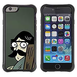 LASTONE PHONE CASE / Suave Silicona Caso Carcasa de Caucho Funda para Apple Iphone 6 PLUS 5.5 / Man Moustache Big Drawing Cartoon Blue