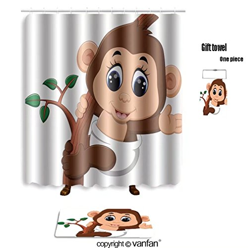 Durable Modeling Vanfan Bath Sets With Polyester Rugs And Shower Curtain  Illustration Of Cute Cartoon Monkey