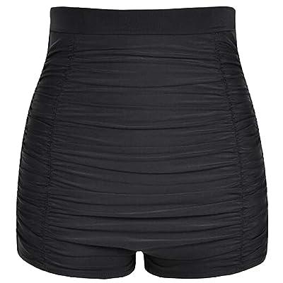 Akaeys Ultra High Waisted Swim Shorts for Women Ruched Tummy Control Bikini Swimsuit Bottoms: Clothing